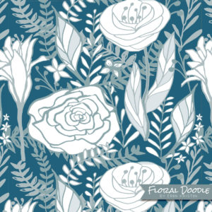 Floral Doodle Blues Pattern Design